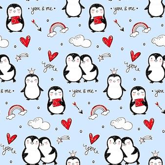Penguin naadloze patroon. grappige dieren achtergrond. cartoon hand getekend textuur met schattige karakters. doodle stijl.