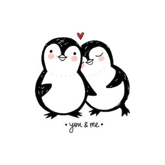 Penguin paar liefde illustratie. doodle schattige dieren. karakters.