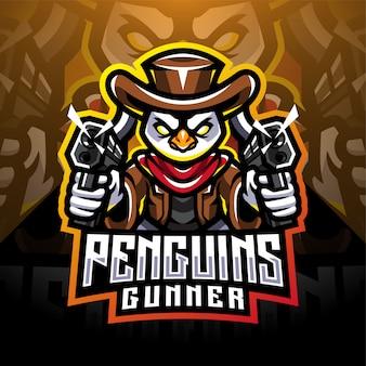 Penguin schutter esport mascotte logo ontwerp