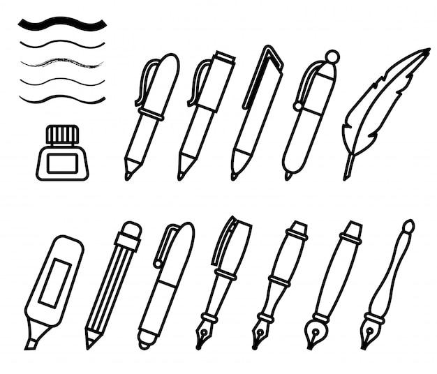 Pennen en markeringen pictogrammen