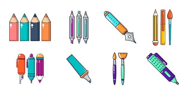 Pennen pictogramserie. beeldverhaalreeks pennen vectorpictogrammen geplaatst geïsoleerd