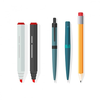 Pennen, potloden en markeringen vector illustratie in platte cartoon design