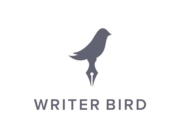 Penschrijver en vogel eenvoudig strak creatief geometrisch modern logo-ontwerp