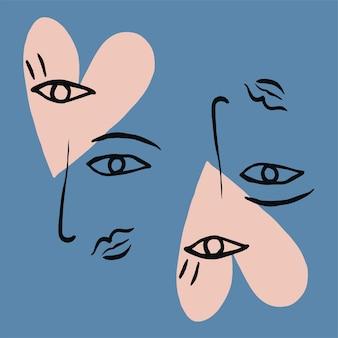 Penseel lijntekeningen hart en ogen neus lippen en gezicht tekening illustratie grafisch hulpmiddel