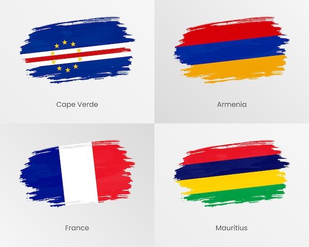 Penseelstreekvlaggen van kaapverdië, armenië, frankrijk en mauritius