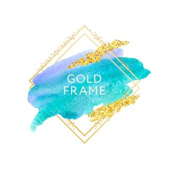 Penseelstreken en gouden frame.