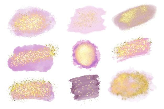 Penseelstreken met goud en glitterpakket