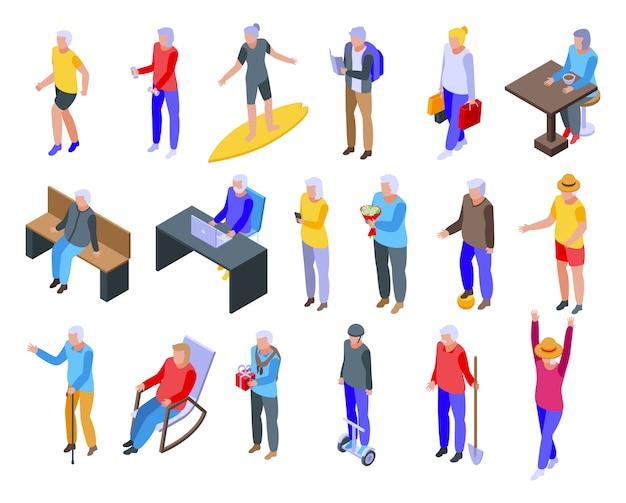 Pensioen iconen set, isometrische stijl