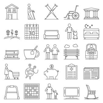 Pensioen pictogramserie. overzichtsreeks pensioen vectorpictogrammen