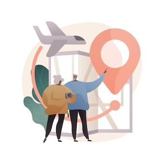 Pensioen reizen abstracte illustratie in vlakke stijl