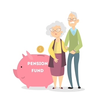 Pensioenfonds concept. grootouders met spaarvarken en spaargeld.