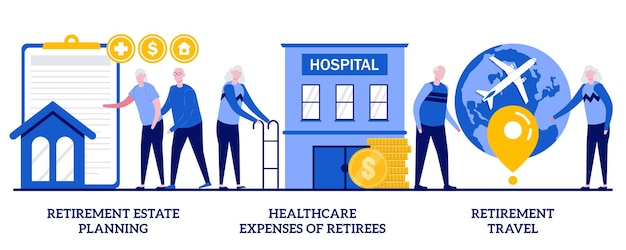 Pensioenplanning, zorgkosten van gepensioneerden, pensioenreisconcept met kleine mensen. privileges voor gepensioneerden, medische dienst, toerisme abstracte vector illustratie set.