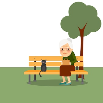 Pensionering oude vrouw in park