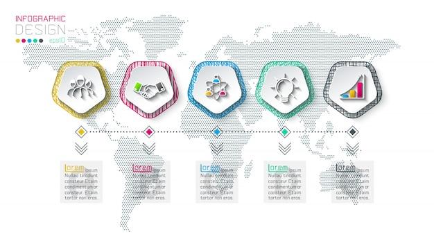 Pentagons label infographic met 5 stappen.