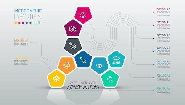 Pentagons sjabloon infographic op vector kunst.