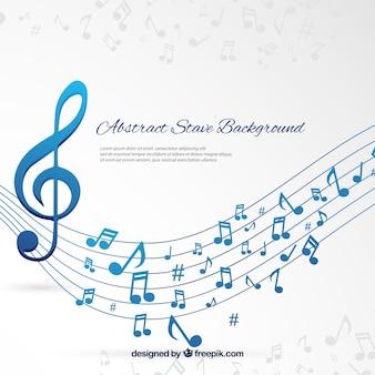 Pentagram achtergrond en blauwe muzieknotities