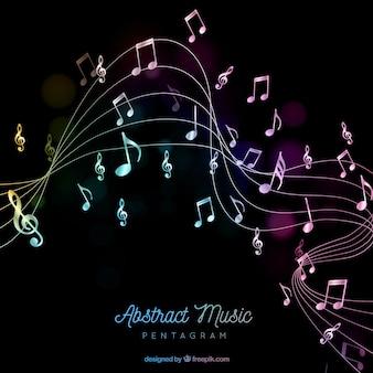 Pentagram achtergrond met muzieknoten