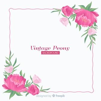 Peony bloem achtergrond in retro stijl