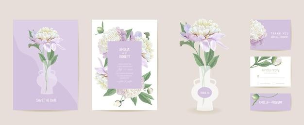 Peony bloemen aquarel trouwkaart. vector lente bloemen uitnodiging. rustieke bloemenbloesem. boho sjabloon frame. botanische save the date gebladerte cover, moderne design poster