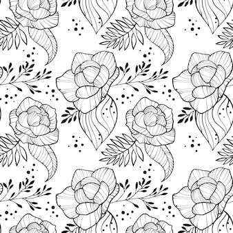 Peony bloemen en bladeren naadloze verticale rand. bloemen romantisch overzichtsbehang.