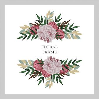 Peony boeket floral frame