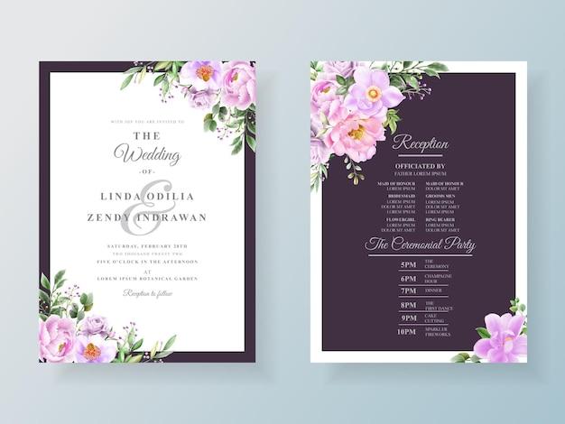 Peony en rozen bruiloft uitnodigingskaart