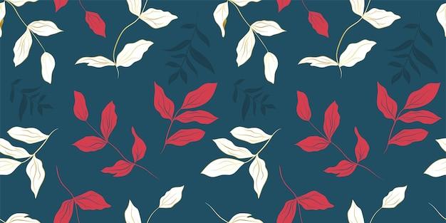 Peony wit gouden en rode bladeren naadloos patroon