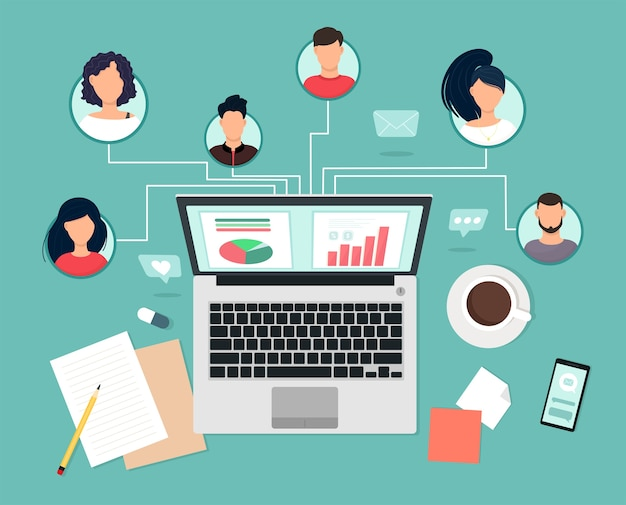 People-experts met verschillende vaardigheden werken op afstand samen via laptop, teamsamenwerking, communicatie en communicatie. studie- en masterclasses, zakelijke trainingen. vectorillustratie in platte s