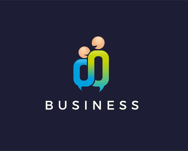 People forum, gemeenschap, communicatie, technologie, lijn, sociaal. vector logo sjabloon