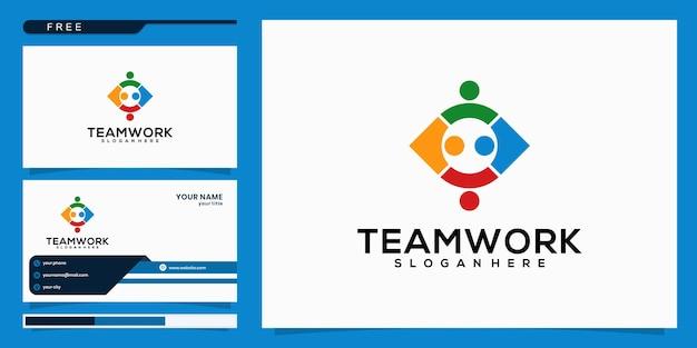 People foundation en community logo-ontwerp en visitekaartje