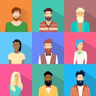 People profile diversity avatar set icon mix race etnisch