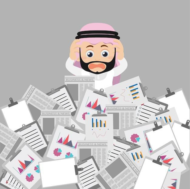 People set arabische zakenman heeft veel werk te doen