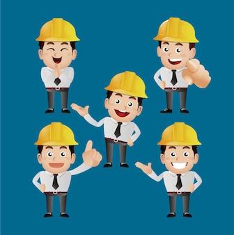 People set beroepsingenieur met verschillende poses