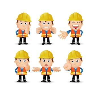 People set profession set van bouwerskarakter in verschillende emoties