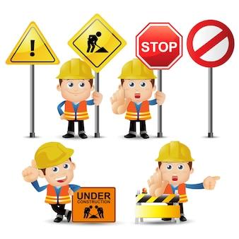 People set profession set van bouwerskarakter in verschillende poses met borden
