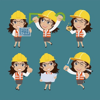 People set profession set van bouwerskarakter in verschillende poses