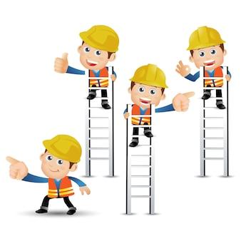 People set profession set van bouwerskarakter in verschillende poses Premium Vector