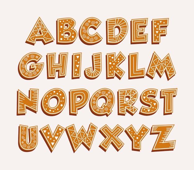 Peperkoek alfabet vrolijk kerstfeest