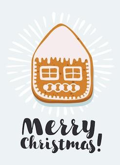 Peperkoek huis op blauwe achtergrond met vrolijke kerst felicitatie vector eps illustratie