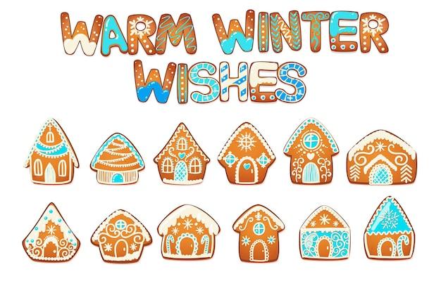 Peperkoek huizen instellen. leuke traditionele kerstkoekje met witte glazuurdecoratie. vector illustratie.
