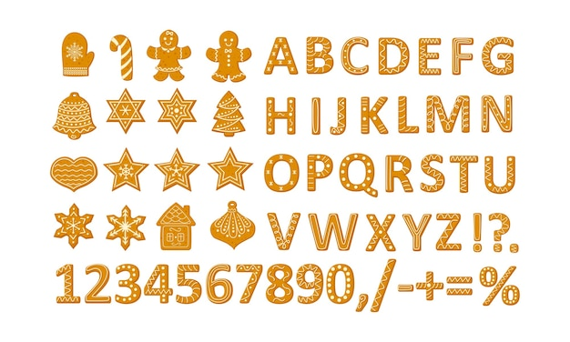 Peperkoek kerstkoekjes set met sterren sneeuwvlokken kerstboom en gember man, alfabet en cijfers illustratie in een cartoon vlakke stijl geïsoleerd op een witte achtergrond.