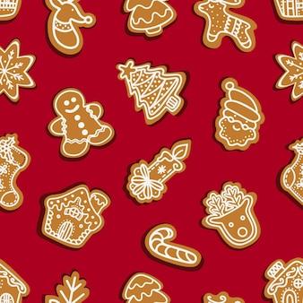Peperkoek kerstkoekjes temidden van sneeuwvlokken naadloos patroon