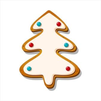 Peperkoek kerstkoekjes winter geglazuurd zoet in de vorm van een boom geïsoleerd vector illustration