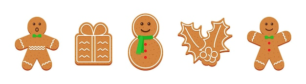 Peperkoek koekjes. kerst schattige snoepjes. vector illustratie.