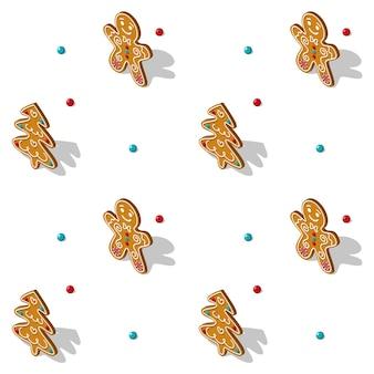 Peperkoek naadloos isometrisch patroon op witte achtergrond