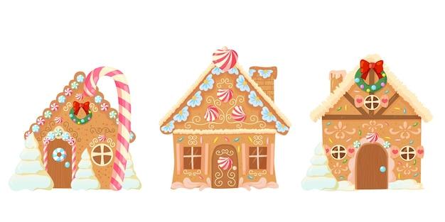 Peperkoekhuisjes met snoep en glazuurdecoratie. kerst lekkernijen.