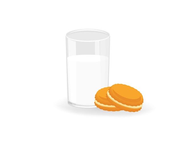 Peperkoekkoekje en een glas melk geïsoleerd Premium Vector
