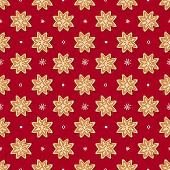 Peperkoekkoekjes en wit sneeuwvlokken naadloos patroon