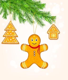 Peperkoekkoekjes op kerstboom vector