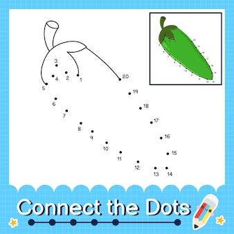 Pepper kinderpuzzel verbind de stippen werkblad voor kinderen die de nummers 1 tot en met 20 tellen